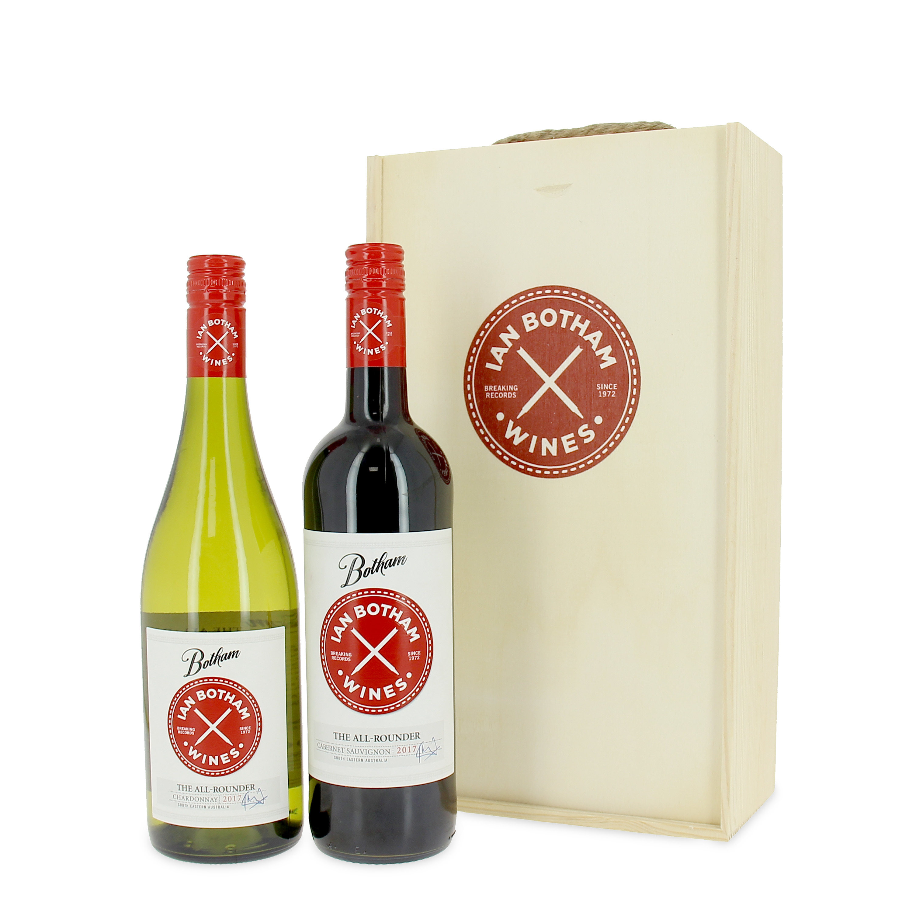 The All Rounder Cabernet Sauvignon And Chardonnay 2018 Twin Wooden Gift Box Set