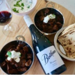 The 81 Series Shiraz with a tasting plate of food