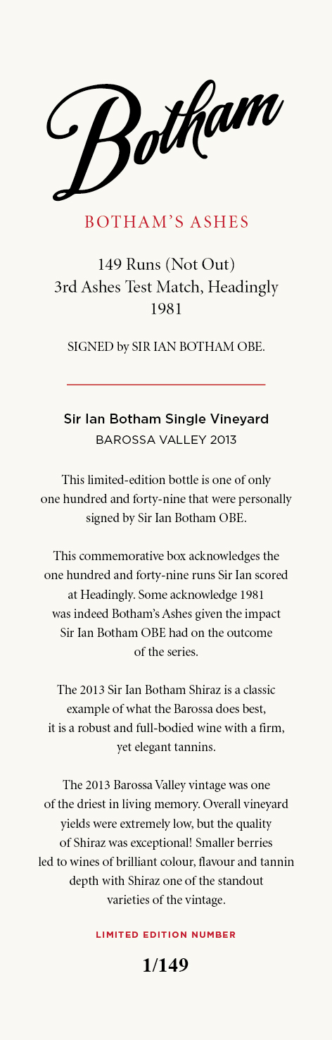 Sir Ian Shiraz signed bottle 149 card 150dpi