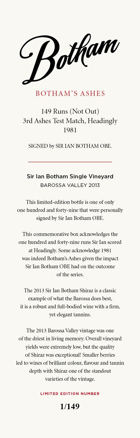 Sir Ian Shiraz signed bottle 149 card 150dpi