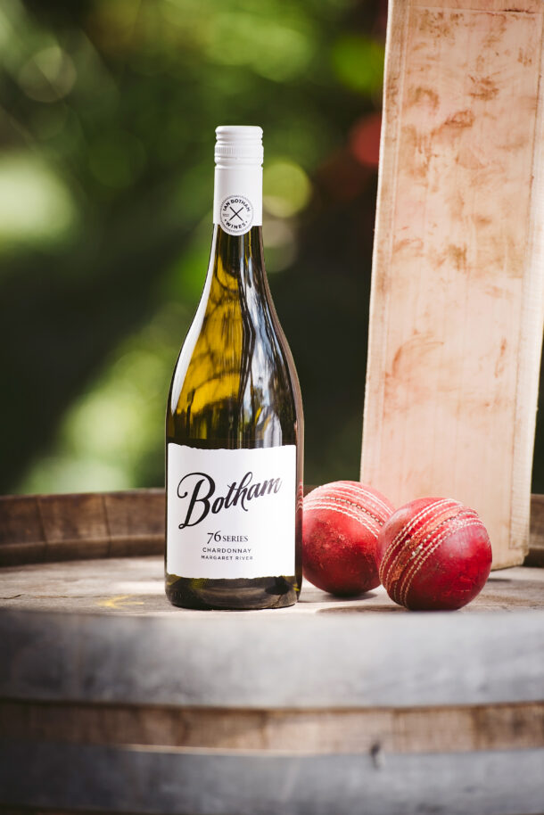 76 Botham Series Chardonnay with two cricket balls and a. cricket bot on a wine barrel