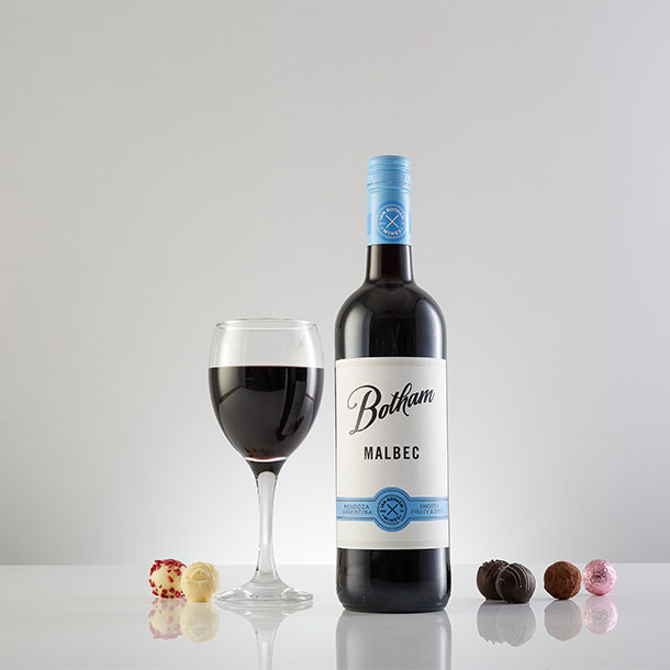 Botham Signature Malbec with glass