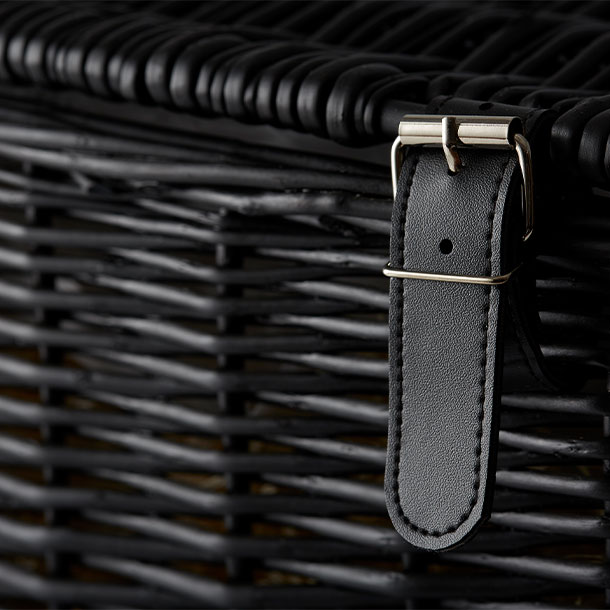 Black Wicker Hamper Detail