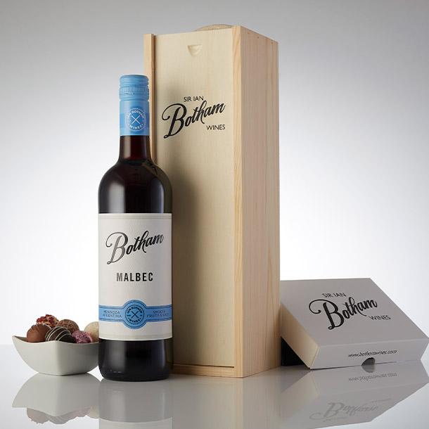 Botham Signature Malbec with truffle chocolates